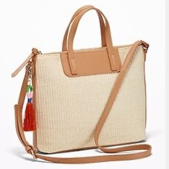 Old Navy Handbags - Old Navy Faux Leather and Straw Crossbody Bag